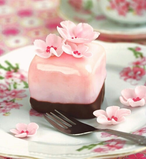 cake, cherry blossom, chocolate and cube