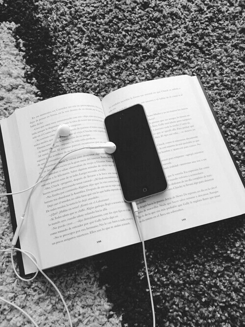 black and white, book, headphones, hipster, iphone - image ...