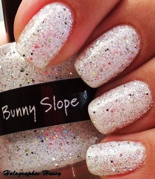 Uñas Decoradas Nails Art Glitter Blanco White Image