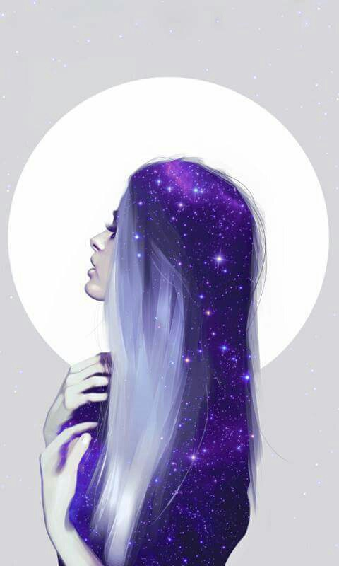 Galaxy in her hair - image #4217897 by loren@ on Favim.com