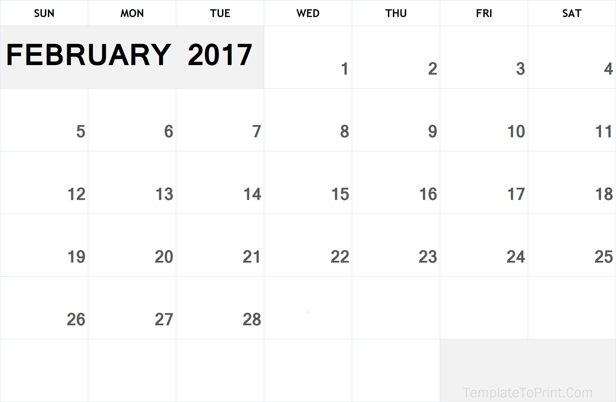 Printable Calendar February 2017 Template Pdf Feb 2017