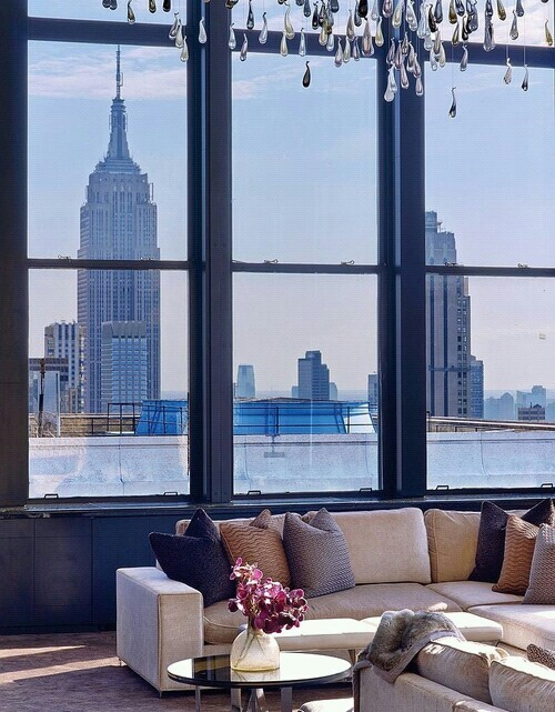 big city, big windows, city, house, interior design
