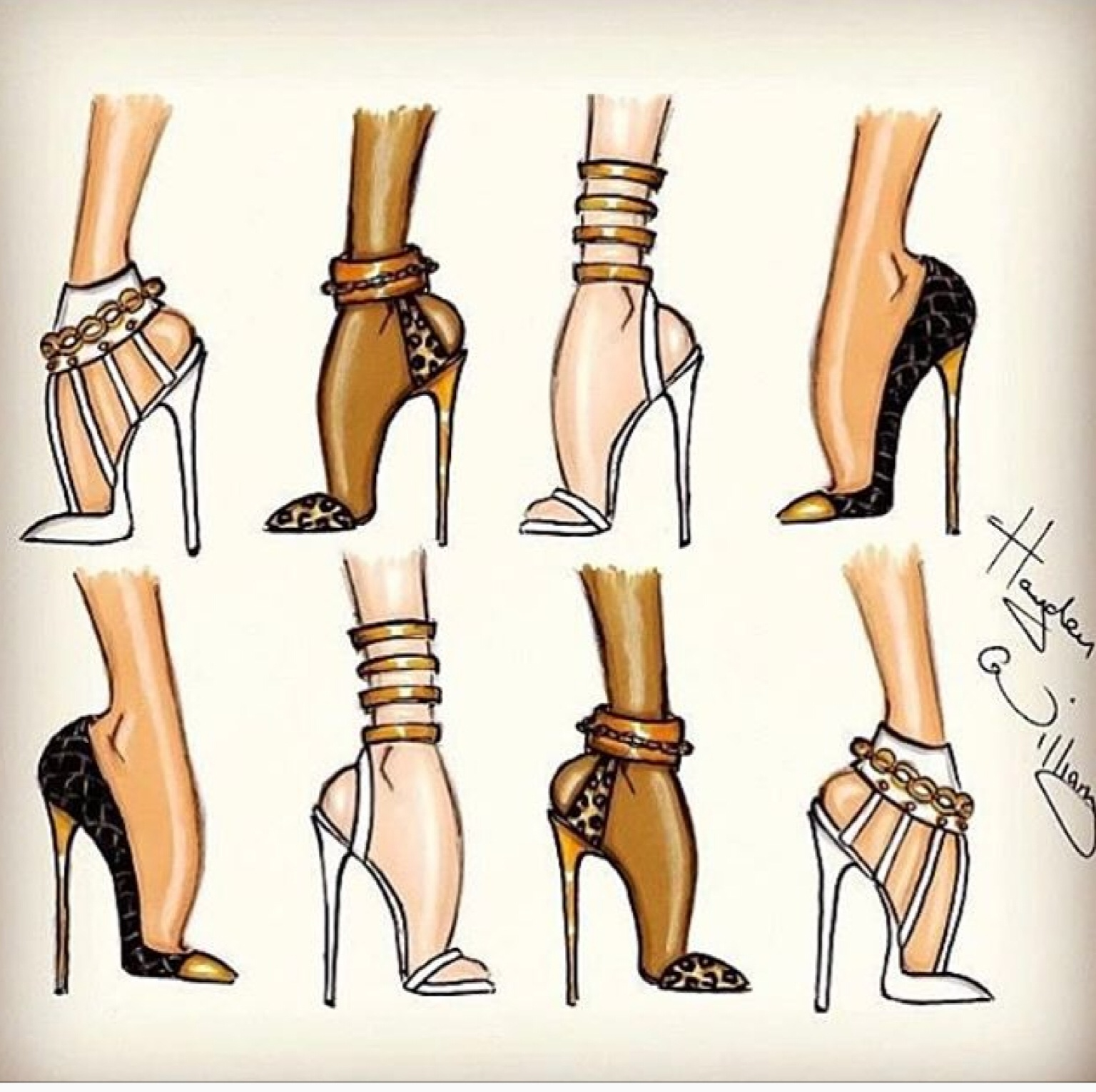 Fashion sketches of shoes