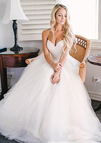 Beautiful Wedding Dresses Ivory Spaghetti Straps Short Train Tulle